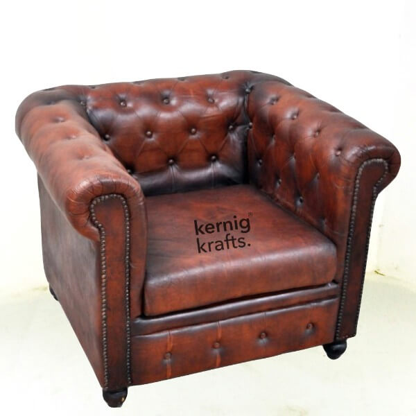 Single Seater Leather Vintage Finish Chesterfield Sofa Kernig